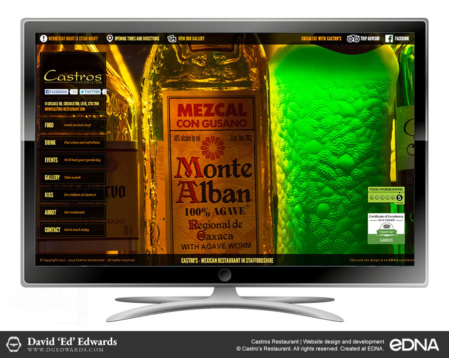 Castros Restaurant website design