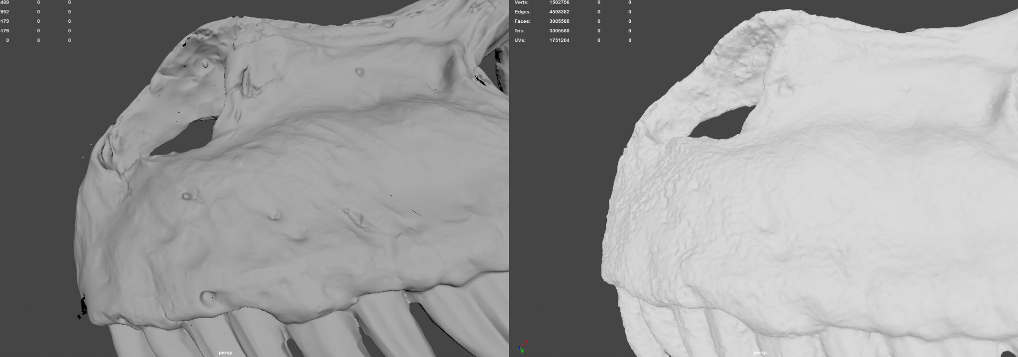 Details on a saser scanned mesh compared with photogrammetry mesh
