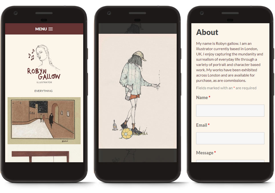 Robyn Gallow mobile responsive website