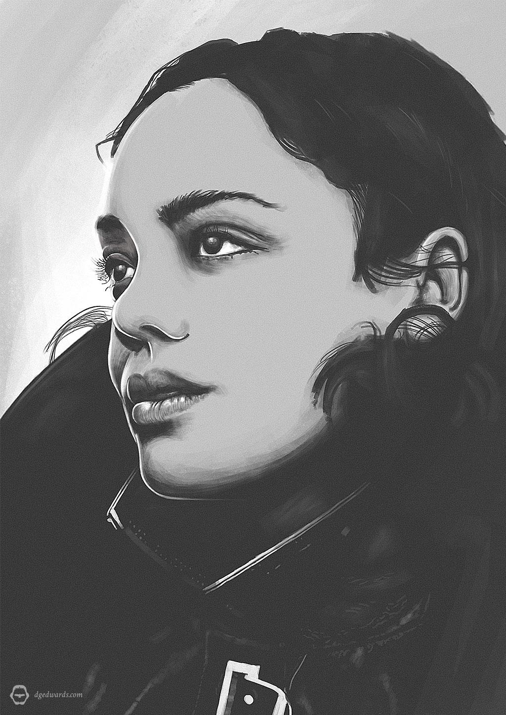 Tessa Thompson, stylised digital portrait