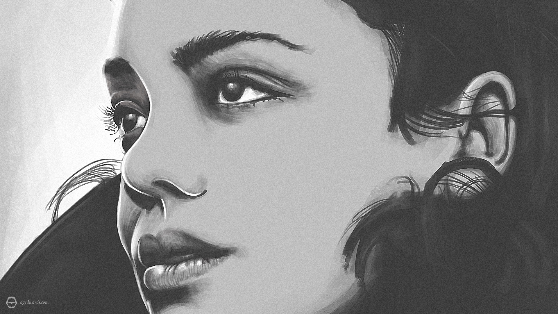 Tessa Thompson, stylised digital portrait