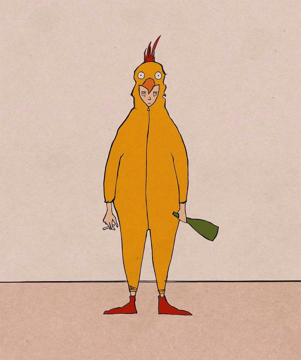 Robyn Gallow Chicken Man Illustration