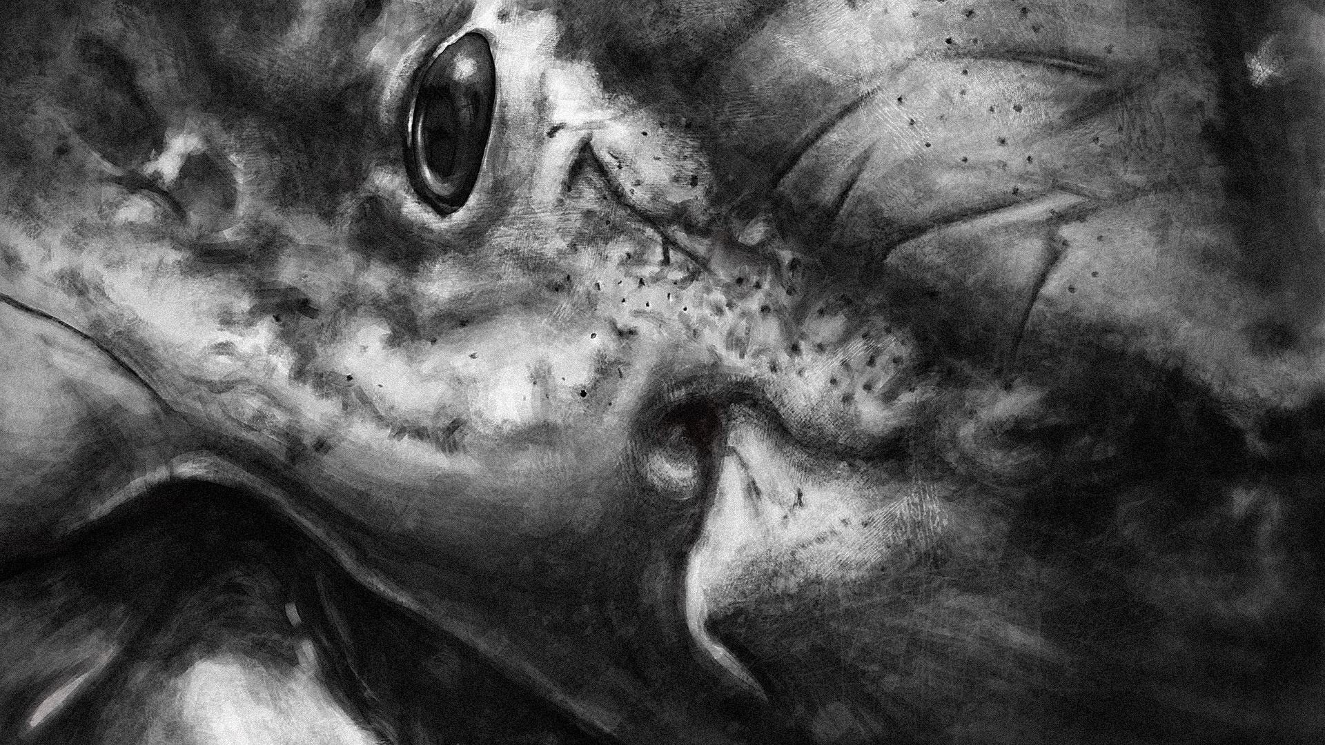 Great white shark digital portrait