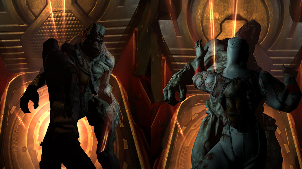 Hell Knight killing scientist in Doom 3