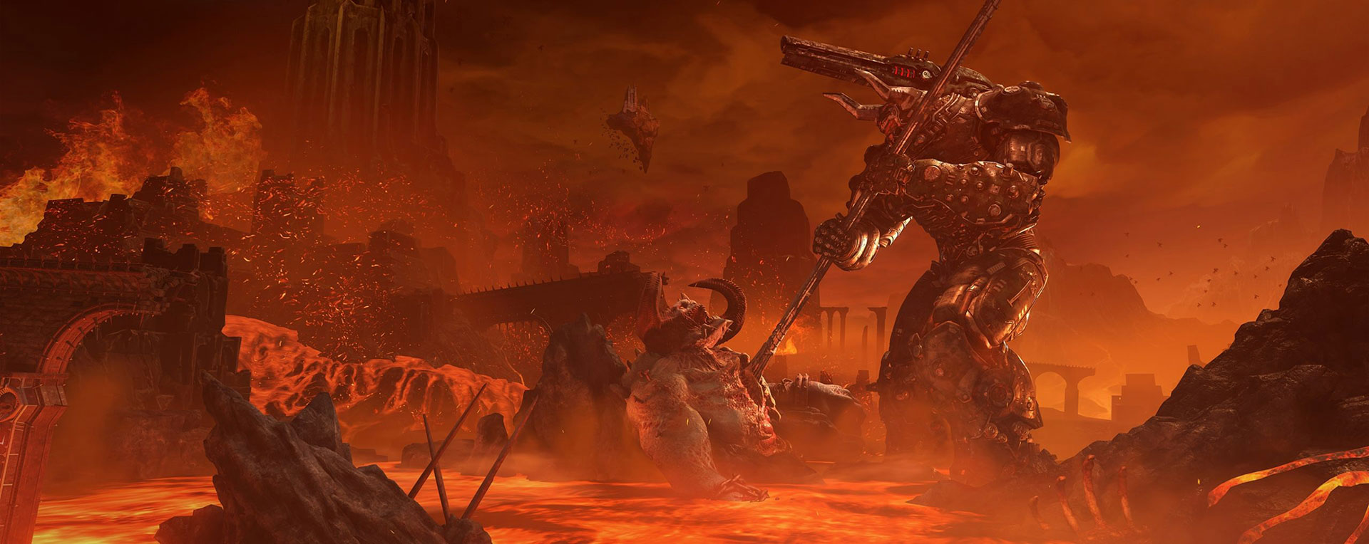 One of the badass environments featured in Doom: Eternal.