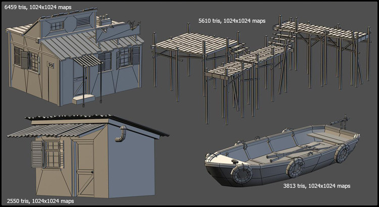 Unreal Engine scene props with wireframes