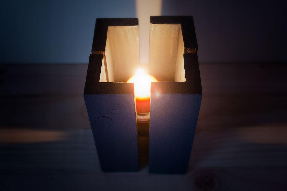Brutalist wooden lantern