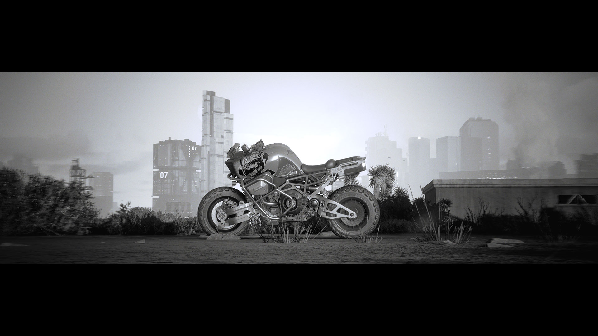 Motorbike against the Night City backdrop