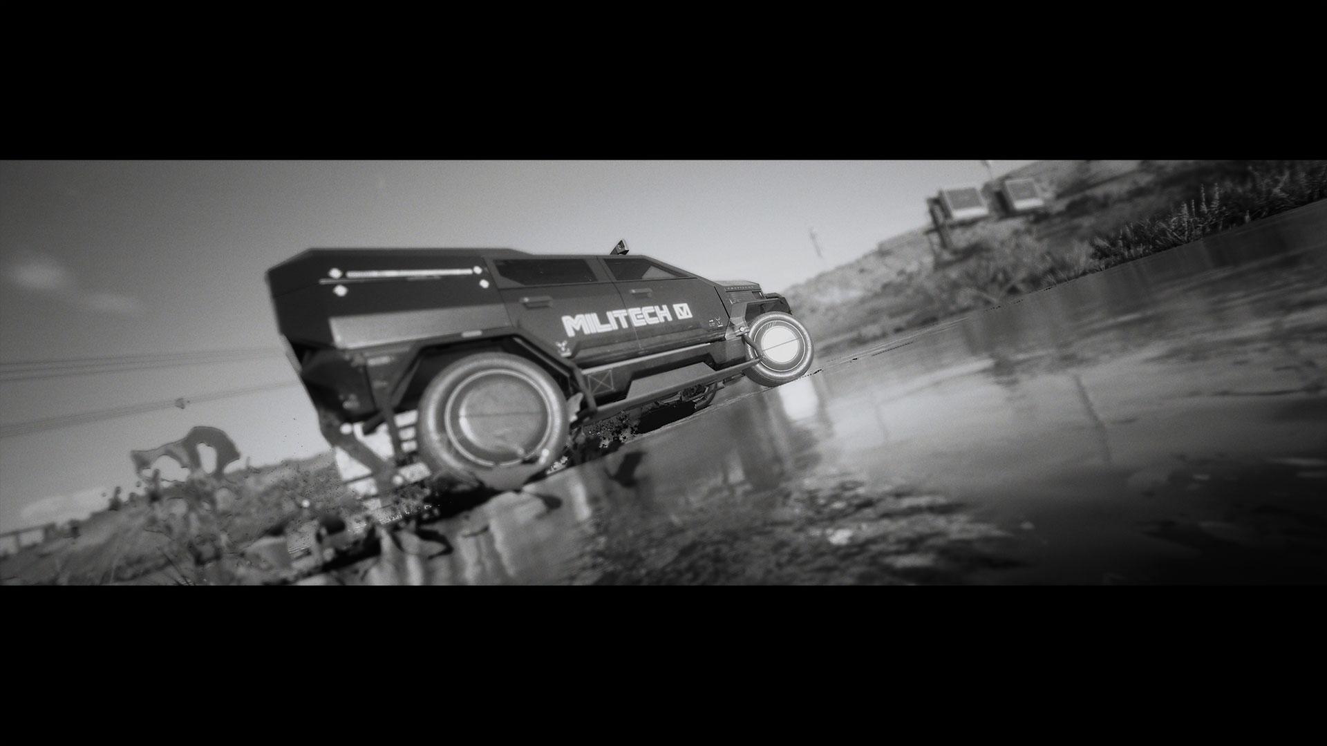 Militech van wheel spinning through mud