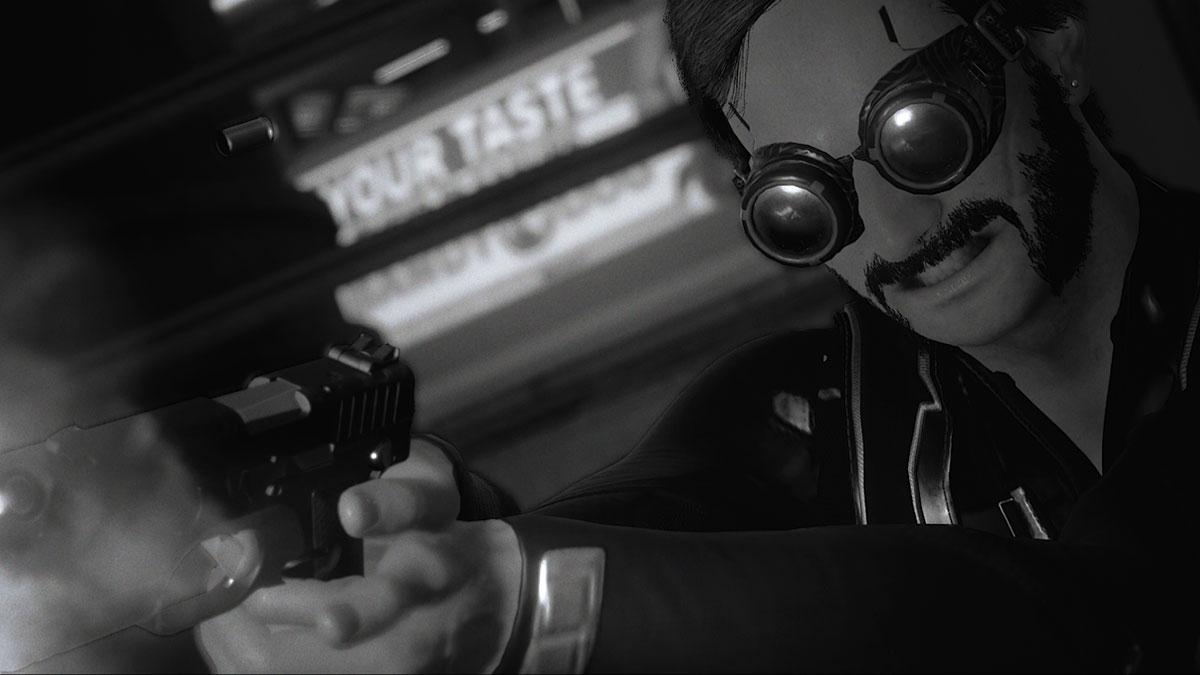 Cyberpunk 2077 black and white screenshot