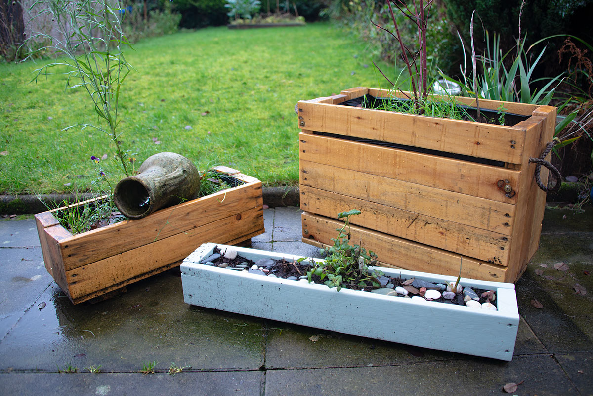 Wooden planters built out of pallets