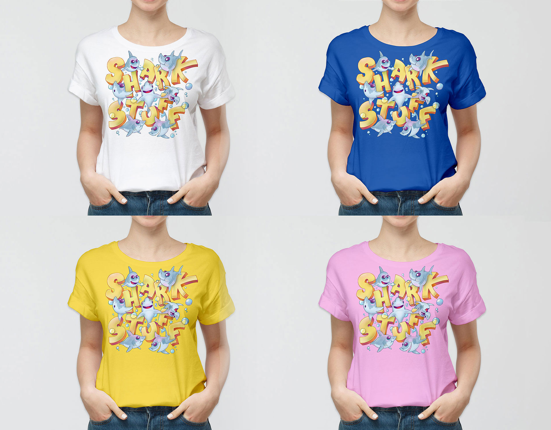 Cutie Sharks T-Shirt Designs